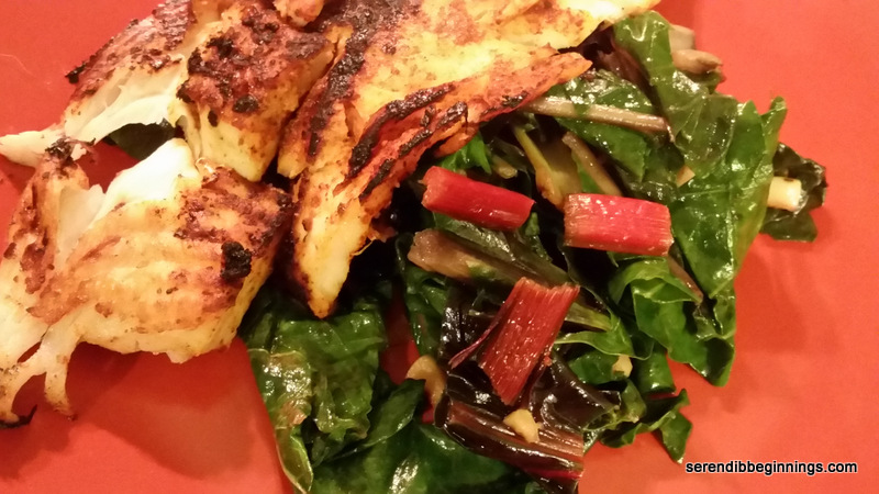 Pan-Grilled Tilapia with Garlic Rainbow Chard   SerendibBeginnings
