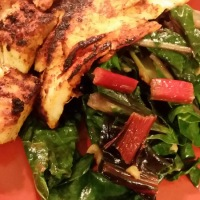 Pan-Grilled Tilapia with Garlic Rainbow Chard