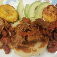 Arepas with chicken and plantains