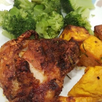 Air Fryer Chicken Thighs and Sweet Potato